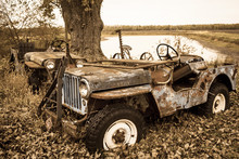 Rusting Willis Jeep In The Country Side