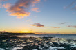 big orange sky over the coast at sunset