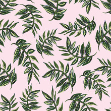 Seamless Vector Pattern Of Tropical Green Branches With Leaves On A Sophisticated Pink Background. Gives A Miami Or Havana Vibe. Great For Textiles, Stationery, Home Decor, Journal Covers & Wallpaper.