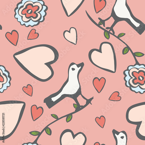 Fotografija  Cute folk art style birds, hearts and flowers in a seamless vector repeat pattern