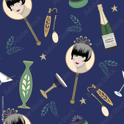 Speakeasy 1920's style Art Deco seamless vector pattern. Dark blue background with flapper, cocktail, champagne, perfume, stars. For sophisticated party ...