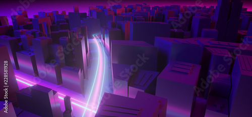 Modern Fantasy Futuristic City With Neon Street Lights Glowing Purple And Blue Night Scene Sci-Fi City Concept Background 3D Rendering