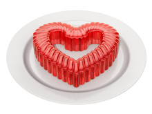 Red Jelly Heart On A Plate, 3D...