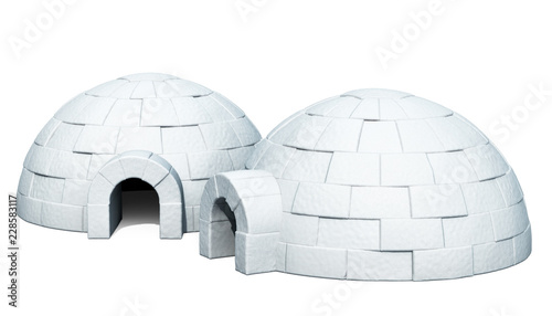 Poster Magie Two Igloos, 3D rendering