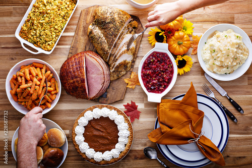 Photo Stands Ready meals Thanksgiving table with turkey and sides