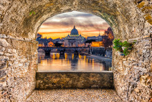 Rock Balcony Overlooking Saint Peter's Church At Sunset, Rome, Italy