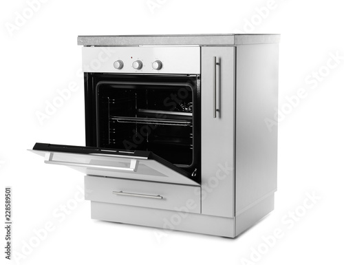 Open modern electric oven on white background. Kitchen appliance