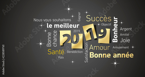 Fototapety, obrazy: Happy New Year 2019 negative space French cloud text gold white black vector