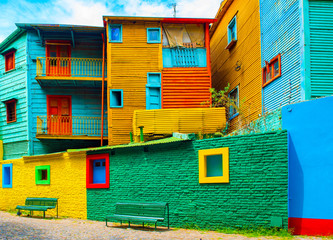 La Boca, pogled na živopisnu zgradu u centru grada, Buenos Aires, Argentina.