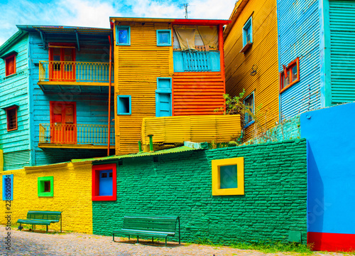 Poster Buenos Aires La Boca, view of the colorful building in the city center, Buenos Aires, Argentina.