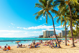 HONOLULU, HAWAII - FEBRUARY 16, 2018: View of the sandy Waikiki city beach. Copy space for text.