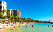 HONOLULU, HAWAII - FEBRUARY 16, 2018: View Of The Waikiki Beach. Copy Space For Text.