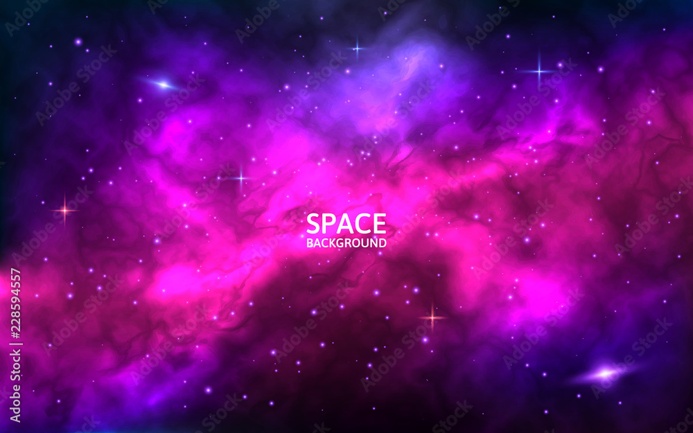 Fototapety, obrazy: Cosmic background. Space backdrop with bright stars, stardust and nebula. Realistic cosmos with colorful galaxy. Color milky way. Vector illustration