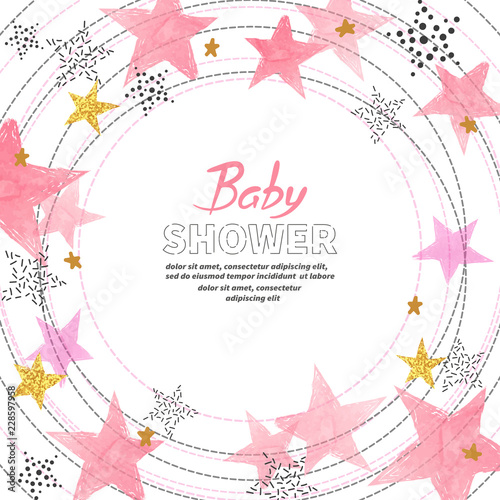 Baby Shower Girl Invitation Card Design With Watercolor Pink