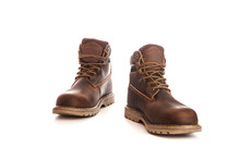 Man Ankle Boots, Brown Color, With Nubuck Leather