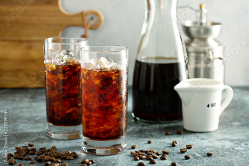 Cold brew iced coffee in tall glasses Canvas Print