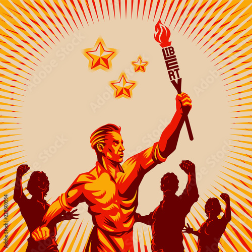 Fotomural Men raising fist holding liberty torch vector illustration