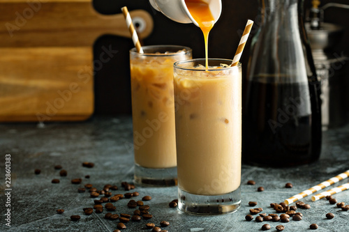 Tableau sur Toile Cold brew iced coffee in tall glasses