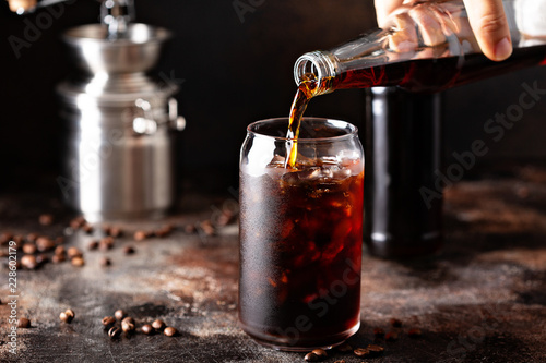 Cold brew iced coffee in glass bottles Poster Mural XXL