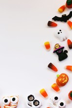 Assorted Halloween Candy Decorations Isolated On White