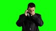 Young Businessman Getting Bad News Cell Phone Greenscreen 720