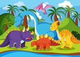 Fototapeta Dino - Flat dinosaur in nature