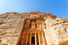 The Treasury Is One Of The Most Elaborate Temples In The Ancient Arab Nabatean Kingdom City Of Petra, Jordan.
