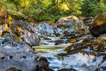 Close View At Water Streaming Down The Creek Bed At Opal Creek