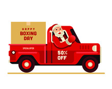 Santa Claus Riding Truck Happy Boxing Day Vector Illustration
