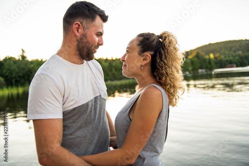 Cadres-photo bureau Artiste KB couple on the pier warm summer day having good time