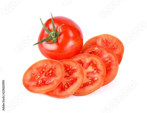 Fotografia Fresh slice tomato on white background