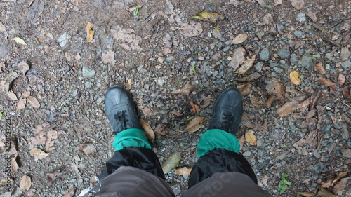 Photo Rubber shoe good for hiking and trekking famous in Malaysia and Borneo for its c