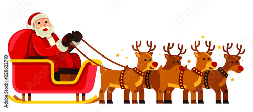 Obraz Santa Claus riding red nose reindeer sleigh on Christmas vector illustration - fototapety do salonu