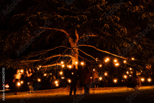 Photo Beautiful firelight and flame in a fire garden festival
