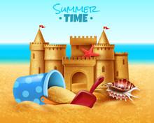 Sand Castle Realistic Illustration
