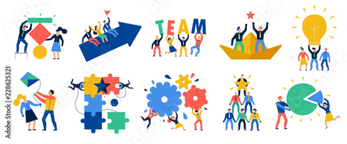 Fotografie, Obraz  Teamwork Icons Set