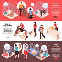 Animal Shelter Isometric Banners