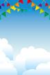 イラスト素材:青空の背景 カラフルな三角旗・パーティーフラッグ|横位置・ベクターデータ|party flag