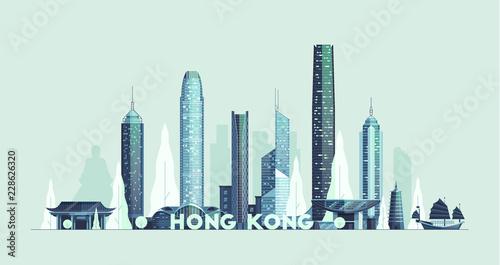 Hong Kong skyline, Republic of China vector city Poster Mural XXL