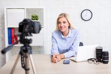 Woman Video Blogger Talking Ab...