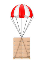Logistics Concept.  Cardboard Boxes On Wooden Palette With Parachute. 3d Rendering