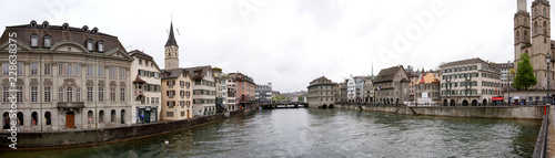 Deurstickers Brugge Switzerland, Zurich, panoramic view of the city on a foggy spring weather