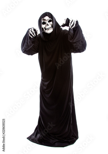 Fotografija The grim reaper or death halloween costume isolated on a white background