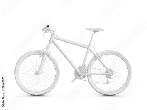 Photo 3D Rendering white bicycle isolated on white background