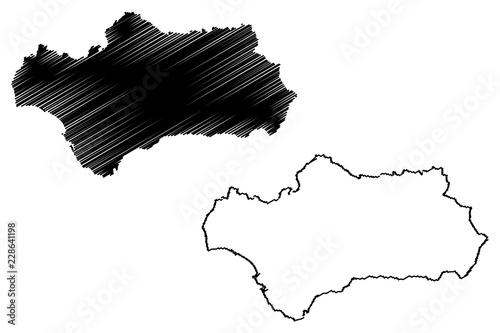 Stampa su Tela Andalusia (Kingdom of Spain, Autonomous community) map vector illustration, scri