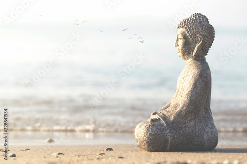 Buddha temple of meditation and relaxation on the beach in front of the ocean
