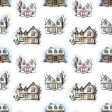Seamless Pattern With Three Winter Houses Isolated On White Background. Watercolor Hand Drawn Illustration