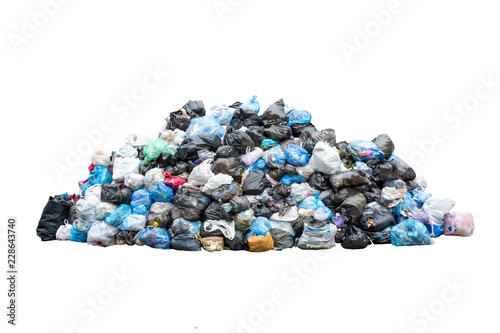 Big pile of garbage in black blue trash bags isolated on white background Wallpaper Mural