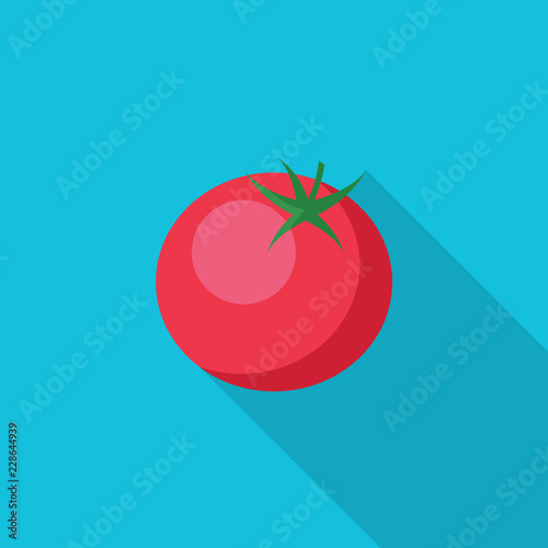 Tomato flat icon with long shadow isolated on blue background. Simple tomato symbol in flat style, vector illustration for web and mobile design.