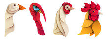 Set Of Cartoon Farm Bird In Tr...